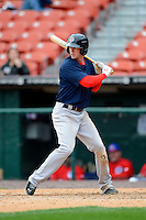 Pawtucket Red Sox outfielder Jeremy Hazelbaker #23 during the second game of a doubleheader against the Buffalo Bisons on April 25, 2013 at Coca-Cola Field in Buffalo, New York.  Buffalo defeated Pawtucket 4-0.  (Mike Janes/Four Seam Images)