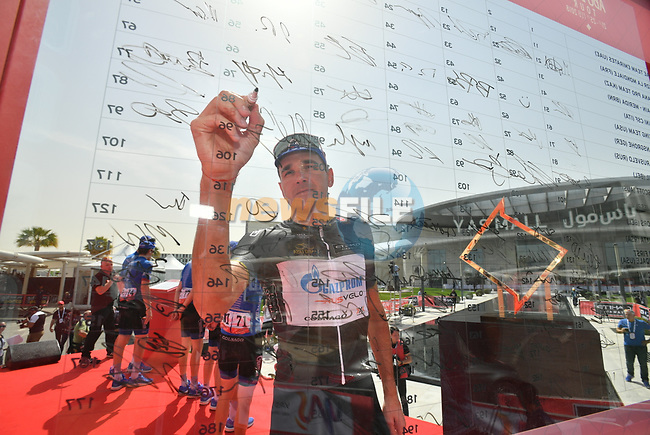 Nikolay Trusov (RUS) Gazprom-Rusvelo wears the Black Intermediate Sprints Points Jersey at sign on before the start of Stage 2 of the 2018 Abu Dhabi Tour, Yas Island Stage running 154km from Yas Mall to Yas Beach, Abu Dhabi, United Arab Emirates. 22nd February 2018.<br /> Picture: LaPresse/Massimo Paolone   Cyclefile<br /> <br /> <br /> All photos usage must carry mandatory copyright credit (© Cyclefile   LaPresse/Massimo Paolone)
