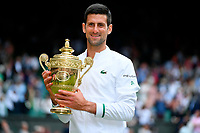 Novak Djokovic (Ser) defeatd Matteo Berrettini (Ita) in Wimbledon final<br /> London 11/07/2021 Wimbledon <br /> Tennis Grande Slam 2021<br /> Photo Antonie Couvercelle / Panoramic / Insidefoto <br /> ITALY ONLY