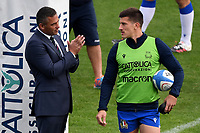 Italian team head coach Franco Smith and Tommaso Allan during the warm up prior to the rugby Autumn Nations Cup's match between Italy and Scotland at Stadio Artemio Franchi on November 14, 2020 in Florence, Italy. Photo Andrea Staccioli / Insidefoto