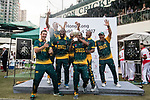 Players of South Africa celebrate as they win the champion during Day 2 of Hong Kong Cricket World Sixes 2017 Award Presentation at Kowloon Cricket Club on 29 October 2017, in Hong Kong, China. Photo by Yu Chun Christopher Wong / Power Sport Images