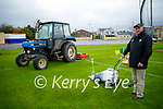 Joe Wallace getting ready to line the Caherslea GAA ground on Sunday as Ger McCarthy cuts the grass as the Kerry Senior hurlers will be training there on their return to training.