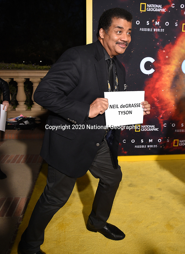 """LOS ANGELES - FEBRUARY 26: Neil deGrasse Tyson attends National Geographic's 2020 Los Angeles premiere of """"Cosmos: Possible Worlds"""" at Royce Hall on February 26, 2020 in Los Angeles, California. Cosmos: Possible Worlds premieres Monday, March 9 at 8/7c on National Geographic. (Photo by Frank Micelotta/National Geographic/PictureGroup)"""