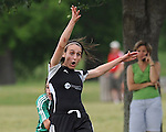 A Mandeville Soccer player reacts to being pulled down from behind during action at Lafreniere Park.