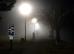 A foggy night on the river levee in Troy, Ohio
