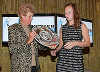 16-12-13, Netherlands, Amsterdam, Amstel Hotel, Tennisser van het jaar, Betty Stove gives the trophy of best player of the year to Kiki Bertens, <br /> Photo: Henk Koster