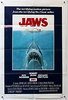 BNPS.co.uk (01202) 558833. <br /> Pic: Ewbank'sAuctions/BNPS<br /> <br /> This Jaws poster sold for £690. <br /> <br /> A selection of classic horror and sci-fi film posters have sold for £85,000.<br /> <br /> The marquee lot was a British quad 30ins by 40ins poster for Forbidden Planet which fetched £12,000, three times its estimate.<br /> <br /> It features the memorable first image of Robby the Robot holding a damsel in distress.<br /> <br /> A poster promoting the Christopher Lee film Dr Terror's House of Horrors (1965) also outperformed expectations, selling for £2,750, while one advertising the first Star Wars film (1977) fetched £4,750.<br /> <br /> The posters, which were consigned by different collectors, sparked a bidding war with Ewbank's Auctions, of Woking, Surrey.