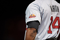 A close-up look at the new Arizona Fall League logo on the sleeve of Scottsdale Scorpions manager Cesar Martin (14) during an Arizona Fall League game against the Mesa Solar Sox on September 18, 2019 at Sloan Park in Mesa, Arizona. Scottsdale defeated Mesa 5-4. (Zachary Lucy/Four Seam Images)