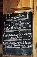 France/06/Alpes-Maritimes/Nice : Cours Saleya - Menu d'un restaurant