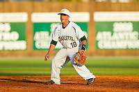Charlotte 49ers shortstop Justin Roland (16) on defense against the Delaware State Hornets at Robert and Mariam Hayes Stadium on February 15, 2013 in Charlotte, North Carolina.  The 49ers defeated the Hornets 13-7.  (Brian Westerholt/Four Seam Images)