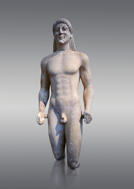 Marble Anxcient Greek Archaic meble statue of a kouros, circa 500 BC, Athens National Archaeological Museum.  Against grey.