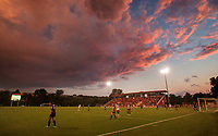Hawgs Illustrated/BEN GOFF <br /> Sunset during the second half of the Arkansas vs Texas A&M soccer match Thursday, Sept. 20, 2018, at Razorback Field in Fayetteville.