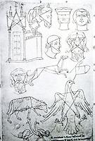 Visual Arts:  Villard De Honnecourt, Plate 36.  THE SKETCHBOOK OF VILLARD DE HONNECOURT.