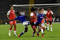 BOGOTA - COLOMBIA, 22-07-2021: Millonarios F.C. y el Independiente Santa Fe durante partido de la Fase de Grupos de la fecha 3 por la Liga Femenina BetPlay DIMAYOR 2021 jugado en el estadio Nemesio Camacho El Campin en la ciudad de Bogota. / Millonarios F.C. and Independiente Santa Fe during a match of the Group Phase the 2nd date for the Women's League BetPlay DIMAYOR 2021 played at the Nemesio Camacho El Campin stadium in Bogota city. / Photo: VizzorImage / Luis Ramirez / Staff.