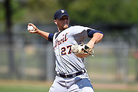 Detroit Tigers pitcher Jake Thompson (27) during a minor league spring training game against the Houston Astros on March 21, 2014 at Osceola County Complex in Kissimmee, Florida.  (Mike Janes/Four Seam Images)