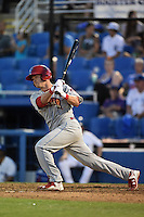 Clearwater Threshers catcher Andrew Knapp (5) at bat during a game against the Dunedin Blue Jays on April 10, 2015 at Florida Auto Exchange Stadium in Dunedin, Florida.  Clearwater defeated Dunedin 2-0.  (Mike Janes/Four Seam Images)