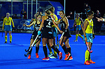 The Black Stciks celebrate a goal during the Sentinel Homes Trans Tasman Series hockey match between the New Zealand Black Sticks Women and the Australian Hockeyroos at Massey University Hockey Turf in Palmerston North, New Zealand on Tuesday, 1 June 2021. Photo: Dave Lintott / lintottphoto.co.nz
