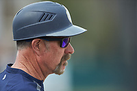 Queens Royals head coach Jack McDowell watches from the dugout during the game against the Mars Hill Lions at Intimidators Stadium on March 30, 2019 in Kannapolis, North Carolina. The Royals defeated the Bulldogs 11-6 in game one of a double-header. (Brian Westerholt/Four Seam Images)