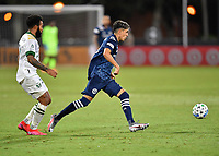 LAKE BUENA VISTA, FL - AUGUST 01: Jesús Medina #19 of New York City FC passes away from Eryk Williamson #30 of the Portland Timbers during a game between Portland Timbers and New York City FC at ESPN Wide World of Sports on August 01, 2020 in Lake Buena Vista, Florida.