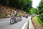 Matej Mohoric (SLO) Bahrain Victorious and World Champion Julian Alaphilippe (FRA) Deceuninck-Quick-Step from the breakaway during Stage 18 of the 2021 Tour de France, running 129.7km from Pau to Luz Ardiden, France. 15th July 2021.  <br /> Picture: A.S.O./Charly Lopez   Cyclefile<br /> <br /> All photos usage must carry mandatory copyright credit (© Cyclefile   A.S.O./Charly Lopez)