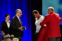 Orlando, FL - Saturday February 10, 2018: Carlos Cordeiro, Briana Scurry, National Soccer Hall of Fame Induction, Hank Steinbrecher during U.S. Soccer's Annual General Meeting (AGM) at the Renaissance Orlando at SeaWorld.