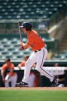 Baltimore Orioles first baseman Ryan Ripken (50) at bat during an Instructional League game against the Atlanta Braves on September 25, 2017 at Ed Smith Stadium in Sarasota, Florida.  (Mike Janes/Four Seam Images)
