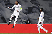 16th March 2021; Madrid, Spain; during the Champions League match, round of 16, between Real Madrid and Atalanta;  Sergio Ramof Madrid celebrates his goal from the penalty spot