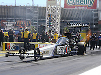 Apr 11, 2015; Las Vegas, NV, USA; NHRA top fuel driver Antron Brown during qualifying for the Summitracing.com Nationals at The Strip at Las Vegas Motor Speedway. Mandatory Credit: Mark J. Rebilas-