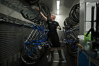 Team Orica-GreenEDGE mechanics at work after stage 20 of the 2015 Giro