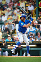Toronto Blue Jays left fielder Dalton Pompey (23) at bat during a Spring Training game against the Pittsburgh Pirates on March 3, 2016 at McKechnie Field in Bradenton, Florida.  Toronto defeated Pittsburgh 10-8.  (Mike Janes/Four Seam Images)