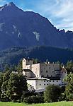 Austria, Tyrol, village Nauders at Reschen passroad: Castle Nauderberg from 13th century | Oesterreich, Tirol, Dorf Nauders am Reschenpass: Burg Nauderberg, auch Schloss Naudersberg genannt, erbaut im 13. Jahrhundert