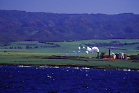 Kekaha Sugar Mill, the last sugar mill working in Hawaii, seen from the ocean, off West Kauai
