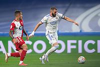 12th September 2021; Estadio Santiago Bernabeu, Madrid, Spain; La Liga, Real Madrid CF versus RC Celta de Vigo; Karim Benzema (Real Madrid) goes past Hugo Mayo (Celta de Vigo)