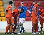 St Johnstone v Kilmarnock.....28.02.15<br /> Manuel Pascali and Steven MacLean tussle in the box<br /> Picture by Graeme Hart.<br /> Copyright Perthshire Picture Agency<br /> Tel: 01738 623350  Mobile: 07990 594431