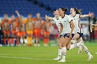 YOKOHAMA, JAPAN - JULY 30: Christen Press #11 of the United States celebrates their victory and entry into the Olympics semifinal during a game between Netherlands and USWNT at International Stadium Yokohama on July 30, 2021 in Yokohama, Japan.