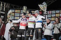 elite men podium: <br /> 1/ World Champ Wout Van Aert (BEL/Crelan-Vastgoedservice)<br /> 2/ Dutch Champ Mathieu Van der Poel (NED/Beobank-Corendon)<br /> 3/ Euro Champ Toon Aerts (BEL/Telenet-Fidea)<br /> <br /> 2016 CX Superprestige Spa-Francorchamps (BEL)