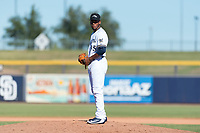 Peoria Javelinas relief pitcher Miguel Sanchez (35), of the Milwaukee Brewers organization, gets ready to deliver a pitch during an Arizona Fall League game against the Scottsdale Scorpions at Peoria Sports Complex on October 18, 2018 in Peoria, Arizona. Scottsdale defeated Peoria 8-0. (Zachary Lucy/Four Seam Images)