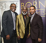 """Ron Gillyard, BeBe Winans and Charles Randolph-Wright backstage after a Song preview performance of the Bebe Winans Broadway Bound Musical """"Born For This"""" at Feinstein's 54 Below on November 5, 2018 in New York City."""
