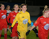 Goalkeeper Hazel Engelen of Woluwe(18) walks onto the pitch during a female soccer game between FC Femina White Star Woluwe and Eendracht Aalst on the sixth matchday of the 2020 - 2021 season of Belgian Scooore Womens Super League , friday 6 th of November 2020  in Woluwe , Belgium . PHOTO SPORTPIX.BE | SPP | SEVIL OKTEM