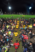 The teams run out for the second half during the Super 15 rugby match between the Hurricanes and Crusaders at Levin Domain, Levin, New Zealand on Friday, 21 June 2013. Photo: Dave Lintott / lintottphoto.co.nz