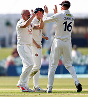 Darren Stevens (L) of Kent is congratulated by Zak Crawley after taking the wicket of Ed Barnard during Kent CCC vs Worcestershire CCC, LV Insurance County Championship Division 3 Cricket at The Spitfire Ground on 5th September 2021