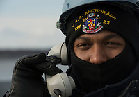 130506-N-DR144-345 ANCHORAGE, Alaska (May 6, 2013)- Seaman Kyle Whyte mans a sound powered phone at the anchor windlass aboard San Antonio-class amphibious transport dock ship USS Anchorage (LPD 23) as the ship leaves the Port of Anchorage. Anchorage departed its namesake city of Anchorage, Alaska after a five-day port visit for the ship's commissioning. (U.S. Navy photo by Mass Communication Specialist 1st Class James R. Evans / RELEASED)