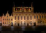 Town Hall Stadhuis and Civil Registry at Night, Burg Square, Bruges, Brugge, Belgium