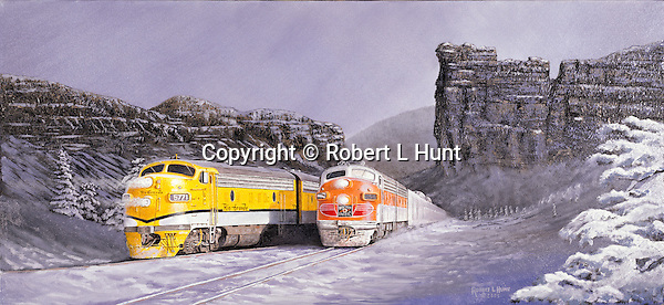 """A Western Pacific Railroad passenger train running side by side with Rio Grande F units through a snowy winter mountain pass out west. Oil on canvas, 14"""" x 30""""."""