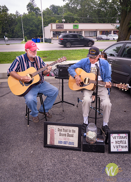 Southland Farmers Market.  Elderly buskers for Veterans Korea. One Foot In The Grave Band