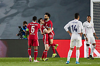 6th April 2021, Alfredo Di Stefano Stadium, Madrid, Spain; UEFA Champipons League football quarterfinl, Real Madrid versus Liverpool;  Mohamed Salah and Diogo Jota of Liverpool FC celebrate their goal for 2-1 in the 51st minute