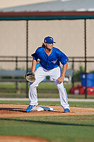 Dunedin Blue Jays first baseman Ryan Noda (19) during a Florida State League game against the Clearwater Threshers on May 11, 2019 at Jack Russell Memorial Stadium in Clearwater, Florida.  Clearwater defeated Dunedin 9-3.  (Mike Janes/Four Seam Images)