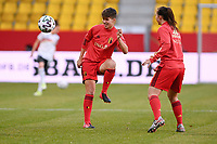 Isabelle Iliano (17) of Belgium  pictured during the warming up of a friendly female soccer game between the national teams of Germany and  Belgium , called the Red Flames  in a pre - bid tournament called Three Nations One Goal with the national teams from Belgium , The Netherlands and Germany towards a bid for the hosting of the 2027 FIFA Women's World Cup , on Sunday 21 st of February 2021  in Aachen , Germany . PHOTO SPORTPIX.BE   SPP   STIJN AUDOOREN