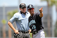 Jupiter Hammerheads manager Andy Haines #19 argues a call with umpire Chris Tipton during a game against the St. Lucie Mets at Digital Domain Park on May 2, 2012 in Port St. Lucie, Florida.  St. Lucie defeated Jupiter 3-2.  (Mike Janes/Four Seam Images)
