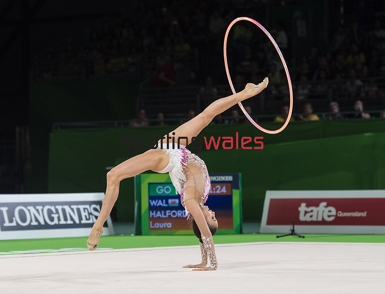 Wales Laura Halford in action during todays Gymnastics Hoop Final <br /> <br /> *This image must be credited to Ian Cook Sportingwales and can only be used in conjunction with this event only*<br /> <br /> 21st Commonwealth Games - Rhythmic Gymnastics - Team Final & Individual Qualification -  Day 9 - 13\04\2018 - Coomera Indoor Sports Centre - Gold Coast City - Australia